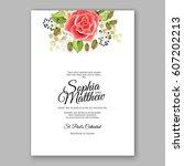 red rose wedding invitation... | Shutterstock .eps vector #607202213