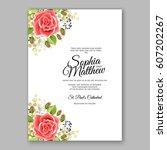red rose wedding invitation... | Shutterstock .eps vector #607202267