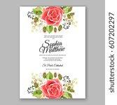 red rose wedding invitation... | Shutterstock .eps vector #607202297