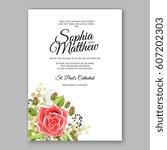 red rose wedding invitation... | Shutterstock .eps vector #607202303