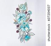 sketch of beautiful flowers on... | Shutterstock . vector #607204037