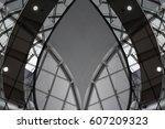 glass ceiling with metal... | Shutterstock . vector #607209323
