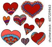 sketch  stickers  pins. doodle...   Shutterstock .eps vector #607209863