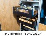 kitchen cupboard for food... | Shutterstock . vector #607213127