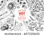pizza top view frame. italian... | Shutterstock .eps vector #607220633