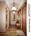 elegant classic hall interior... | Shutterstock . vector #607220957