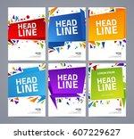 set of vector origami signs .... | Shutterstock .eps vector #607229627