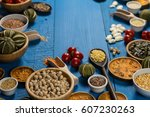 assortment of legumes  grain... | Shutterstock . vector #607230263