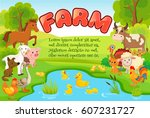 farm animals. cover with space... | Shutterstock .eps vector #607231727