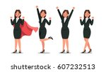 set of business woman character ... | Shutterstock .eps vector #607232513