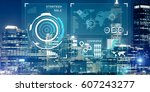virtual panel with graphs and... | Shutterstock . vector #607243277