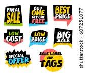 big set sale advertising web... | Shutterstock .eps vector #607251077