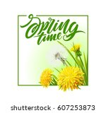 fresh spring background with... | Shutterstock .eps vector #607253873