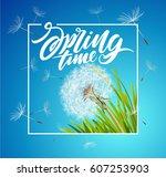 inscription spring time. vector ... | Shutterstock .eps vector #607253903