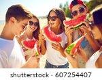 group of friends having fun... | Shutterstock . vector #607254407