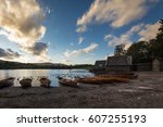 sunset over wooden boats on the ...