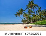 stunning view of the beach in... | Shutterstock . vector #607262033