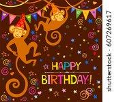 happy birthday card....   Shutterstock .eps vector #607269617