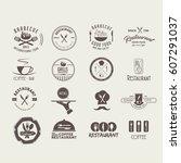 collection logos restaurant | Shutterstock .eps vector #607291037