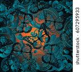 paisleys floral shiny vector... | Shutterstock .eps vector #607295933