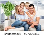 happy family. | Shutterstock . vector #607303313