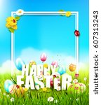 cute easter template with... | Shutterstock .eps vector #607313243