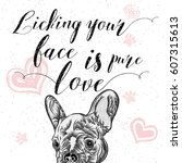 cute puppy with pink hearts and ...   Shutterstock .eps vector #607315613