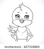cute baby chick sit on a white... | Shutterstock .eps vector #607318883