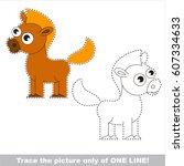 cute brown horse. dot to dot... | Shutterstock .eps vector #607334633