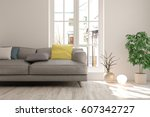 white room with sofa and urban  ... | Shutterstock . vector #607342727
