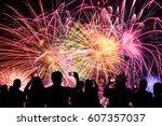 group of people watching... | Shutterstock . vector #607357037