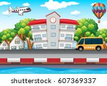school building and bus on the... | Shutterstock .eps vector #607369337