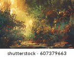beautiful scenery of colorful... | Shutterstock . vector #607379663