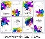 creative poster set or banner... | Shutterstock .eps vector #607385267