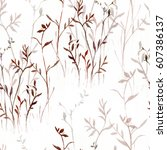 seamless pattern from branches... | Shutterstock . vector #607386137