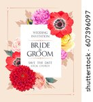 wedding invitation with flowers | Shutterstock .eps vector #607396097
