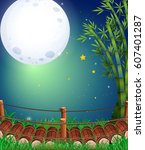 scene with fullmoon in the sky... | Shutterstock .eps vector #607401287