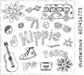 hand drawn doodle cartoon set... | Shutterstock .eps vector #607416773