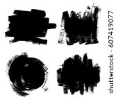 set of black paint  ink brush... | Shutterstock .eps vector #607419077