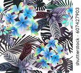 seamless pattern of tropical ... | Shutterstock .eps vector #607427903