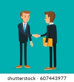 business meeting with shaking... | Shutterstock .eps vector #607443977