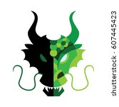 Green Dragon Face Mask On A...
