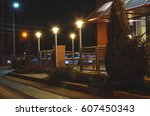 the night lights along the road ... | Shutterstock . vector #607450343