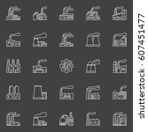 factory buildings icons. vector ... | Shutterstock .eps vector #607451477