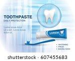 whitening toothpaste ads... | Shutterstock .eps vector #607455683