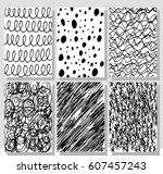 set of hand drawing cards....   Shutterstock .eps vector #607457243