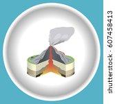 icon volcano eruption cross... | Shutterstock .eps vector #607458413