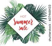 summer hawaiian flyer design... | Shutterstock .eps vector #607468433