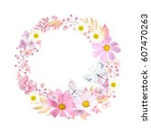 wreath with flowers cosmos ... | Shutterstock .eps vector #607470263