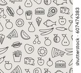 different food silhouette icons ... | Shutterstock .eps vector #607476383